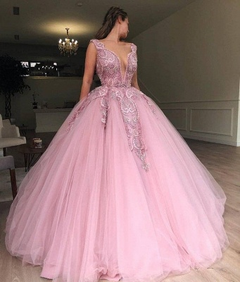 Pink Ball Gown V-Neck Applique Tulle Sleeveless Prom Dersses_2