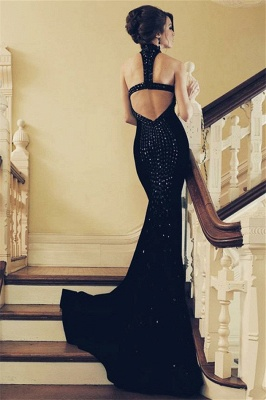 Black Halter Crystal Appliques Sexy Mermaid Prom Dresses | New Arrival Sexy Sleeveless Open-Back Evening Dresses_2