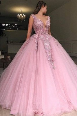 Pink Ball Gown V-Neck Applique Tulle Sleeveless Prom Dersses_1