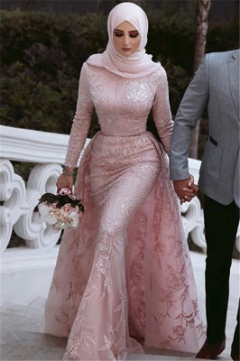 Pink Detachable Long-Sleeves Prom Dresses | Cheap Appliques Lace Sexy Mermaid Evening Gowns_3