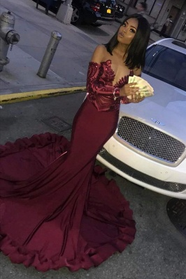 Sexy Burgundy Sequins Mermaid Prom Dresses | Cheap Long Sleeves Evening Dresses On Sale_3