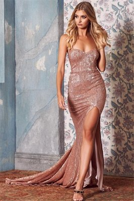 Sexy Sequins Side-Slit Long Prom Dresses | 2020 Sweetheart Mermaid Evening Dresses_1