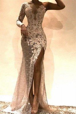 Newest Sheath One-Shoulder Side Slit Lace Prom Dresses_1
