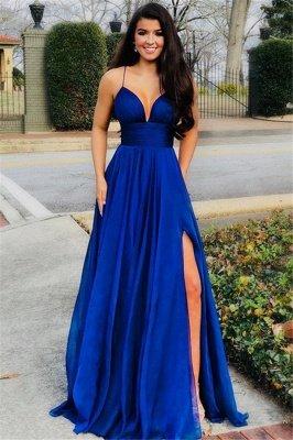 Glamorous A-Line Spaghetti Straps Sleeveless Side Slit Evening Dresses_1