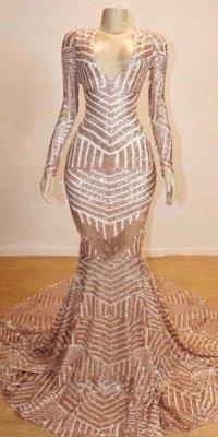 Mermaid Long Sleeve V-neck Sequined Sweep Train Long Prom Dresses Cheap_3