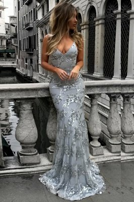 SAGE | Mermaid V-neck Spaghetti Floor-length Crystal Beads Prom Dresses