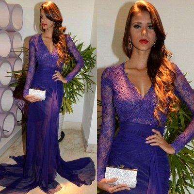 Glamorous Sheath V-Neck Long Sleeves Tulle Applique Prom Dresses_3