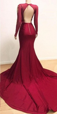 Deep V-neck Long Sleeve Prom Dresses Cheap with Slit | Lace Appliques Sexy Burgundy Evening Gowns_4