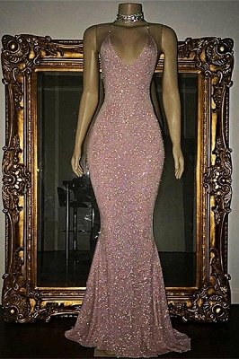 Stunning Mermaid Spaghetti Straps Sequined Sleeveless Prom Dresses Cheap sp0311