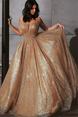 Champagne Elgant A-line Spaghetti Straps Backless Sequins Prom Dresses_1