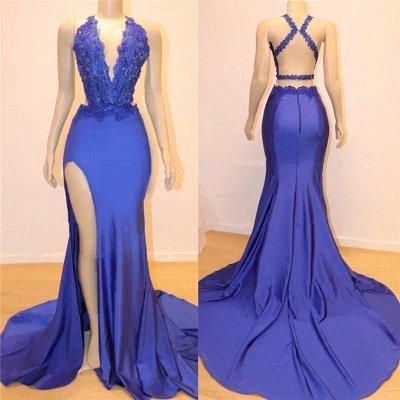 V-neck Open back Side Slit Long Prom Dresses Cheap | Elegant Royal Blue Mermaid Beads Lace Evening Gowns_2