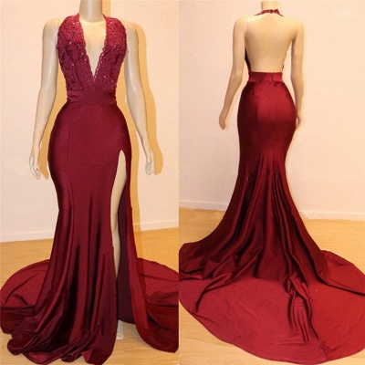 Open Back Burgundy Long Prom Dresses Cheap with Slit | V-neck Halter Affordable Evening Gowns with Court Train_2