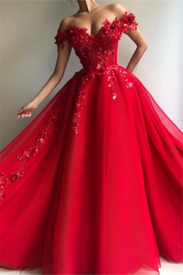 New Arrival Ball Gown Off The Shoulder Applique Flowers Evening Dresses