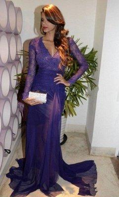 Glamorous Sheath V-Neck Long Sleeves Tulle Applique Prom Dresses_1