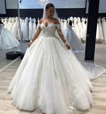 New Arrival Long Sleeve Ball Gown Wedding Dresses Cheap | Online Fluffy Tulle Appliques Bridal Gowns_2