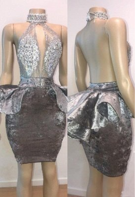 Sexy Backless Silver Velvet Short Prom Dresses   Halter Keyhole Lace Appliques Homecoming Dresses Cheap_2