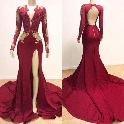 Deep V-neck Long Sleeve Prom Dresses Cheap with Slit | Lace Appliques Sexy Burgundy Evening Gowns_5