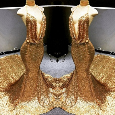 Sexy Deep V-Ausschnitt Gold Pailletten Abendkleid 2021   Meerjungfrau rückenfreies billiges Abendkleid auf Schaufensterpuppen BC1258_3