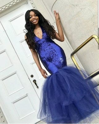 Sexy Navy Blue Mermaid Sequins Prom Dresses   Cheap Tulle Sleeveless V-Neck Evening Dresses_3