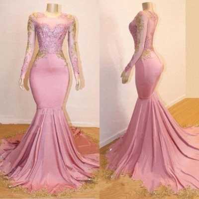 Pink Appliques Long Sleeve Long Prom Dresses Cheap | New Arrival Gorgeous Mermaid Evening Gowns_4