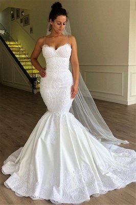 Gorgeous Mermaid Sleeveless Lace Spaghetti Straps Wedding Dresses