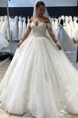 New Arrival Long Sleeve Ball Gown Wedding Dresses Cheap | Online Fluffy Tulle Appliques Bridal Gowns_1