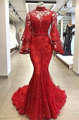 Gorgeous Red High Neck Sheer Tulle Long Sleeve Beads Mermaid Long Prom Dresses Cheap_1