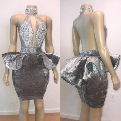 Sexy Backless Silver Velvet Short Prom Dresses   Halter Keyhole Lace Appliques Homecoming Dresses Cheap_3