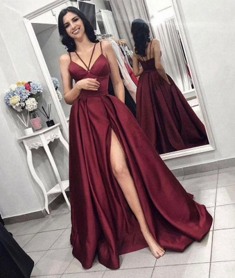 Sexy Sleeveless Front Split Prom Gown   Burgundy Spaghetti-Straps A-Line Evening Dress_2