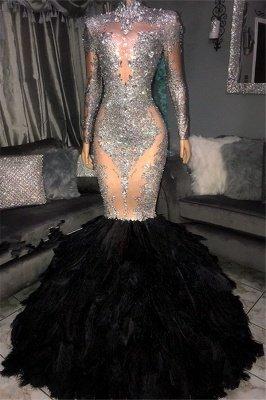 Glamorous Sliver Seuqins High Neck Long Sleeves Fur Mermaid Prom Dresses_1
