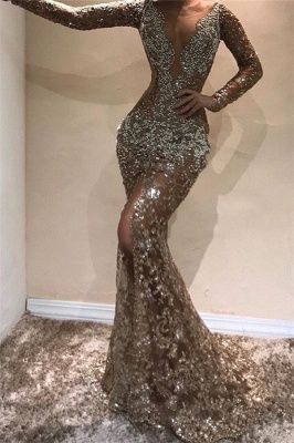 Sexy Mermaid Long Sleeves Open Back Sequins Prom Dresses