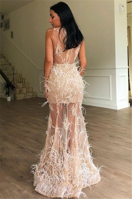 Elegant A-Line Sleeveless Sheer Tulle Feather Prom Dresses_2