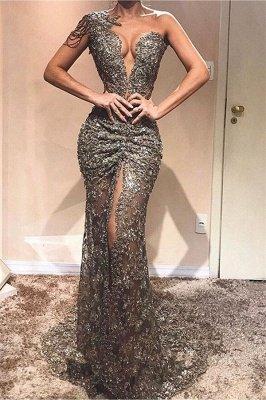 Fashion Sheath One-Shoulder Appliques Front Split Crystal Prom Dresses_1