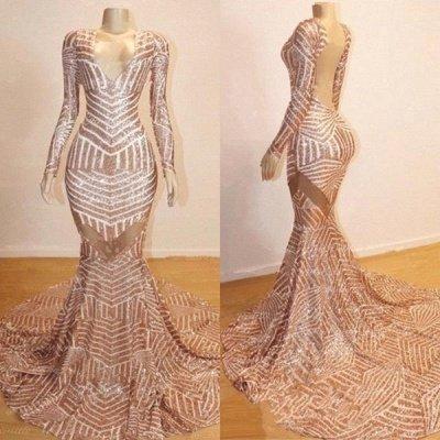 Mermaid Long Sleeve V-neck Sequined Sweep Train Long Prom Dresses Cheap_2