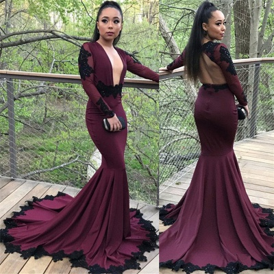 Long Mermaid Long Sleeve Prom Dresses | Appliques Open Back Formal Dresses with Beads SK0041_4