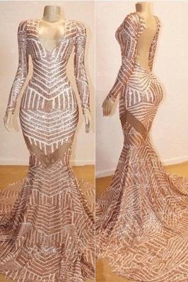 Mermaid Long Sleeve V-neck Sequined Sweep Train Long Prom Dresses Cheap_1