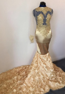 Champagne Mermaid Long Sleeve Flowers Appliques Long Prom Dresses Cheap_2
