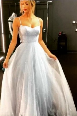 Sparkly Backless Dress Tulle Floor Length Prom Dresses | Cheap Long Evening Gowns on Sale_4