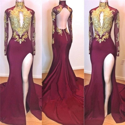 Burgundy Gold Appliques Evening Gowns | Long Sleeve Side Slit Open Back Mermaid Long Prom Dresses Cheap_2