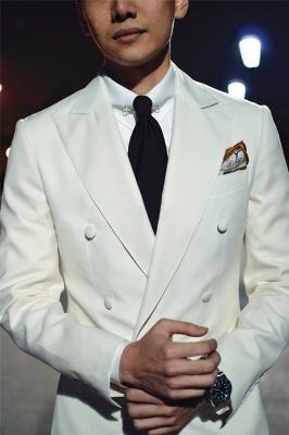 Élégant costume de mariage en laine blanche à double boutonnage sur mesure pour le marié | Nouvellement 3 poches Peak Revel Fit costume de mariée