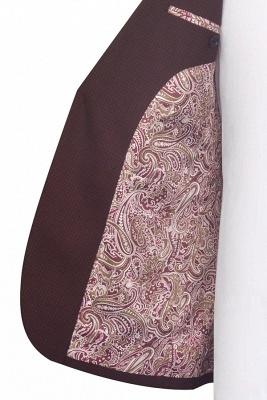 Dark Red Small grid Peak Lapel Custom Suit For Men | New Single Breasted One Button Groomsmen Men Business Suit_6