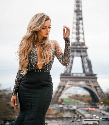 Chic Black Sheer-Tulle Appliques Long-Sleeves Sexy Mermaid Prom Dress_3
