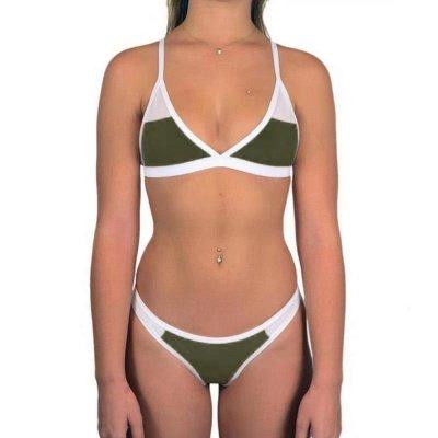 Triangle Pads Colorful Plain Sheer Net Sexy Bikini Sets_11