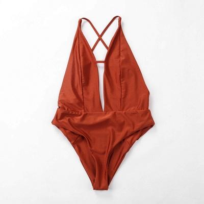Kwyhole V-neck Criss-cross High Waist Swimsuits_6