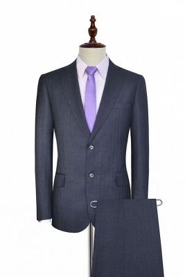 Costume gris foncé en laine à rayures Two botton pour hommes | Nouvelle arrivée unique costume de mariage de poitrine pour marié