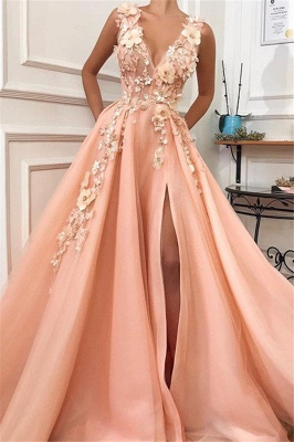 Chic Appliques Straps V-Neck Flower  Prom Dress_1