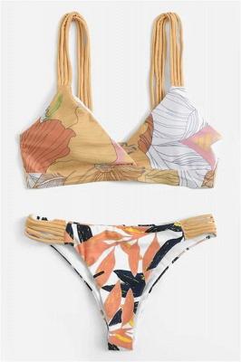 Painted Prints Straps Two Piece Sexy Bikini Sets_1