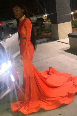 Sexy Orange Long-Sleeves High-Neck Sexy Mermaid Long Prom Dress_3