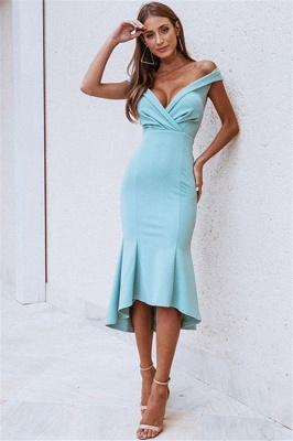 Chic Off-The-Shoulder Sleeveless Sexy Mermaid Prom Dress_1