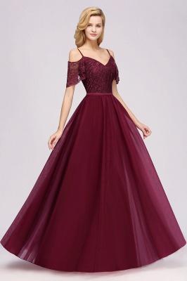 Chiffon Lace Sweetheart Spaghetti Straps Short-Sleeves Floor-Length Bridesmaid Dresses with Ruffles_3